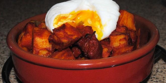Patatas Bravas with Chorizo and Poached Egg
