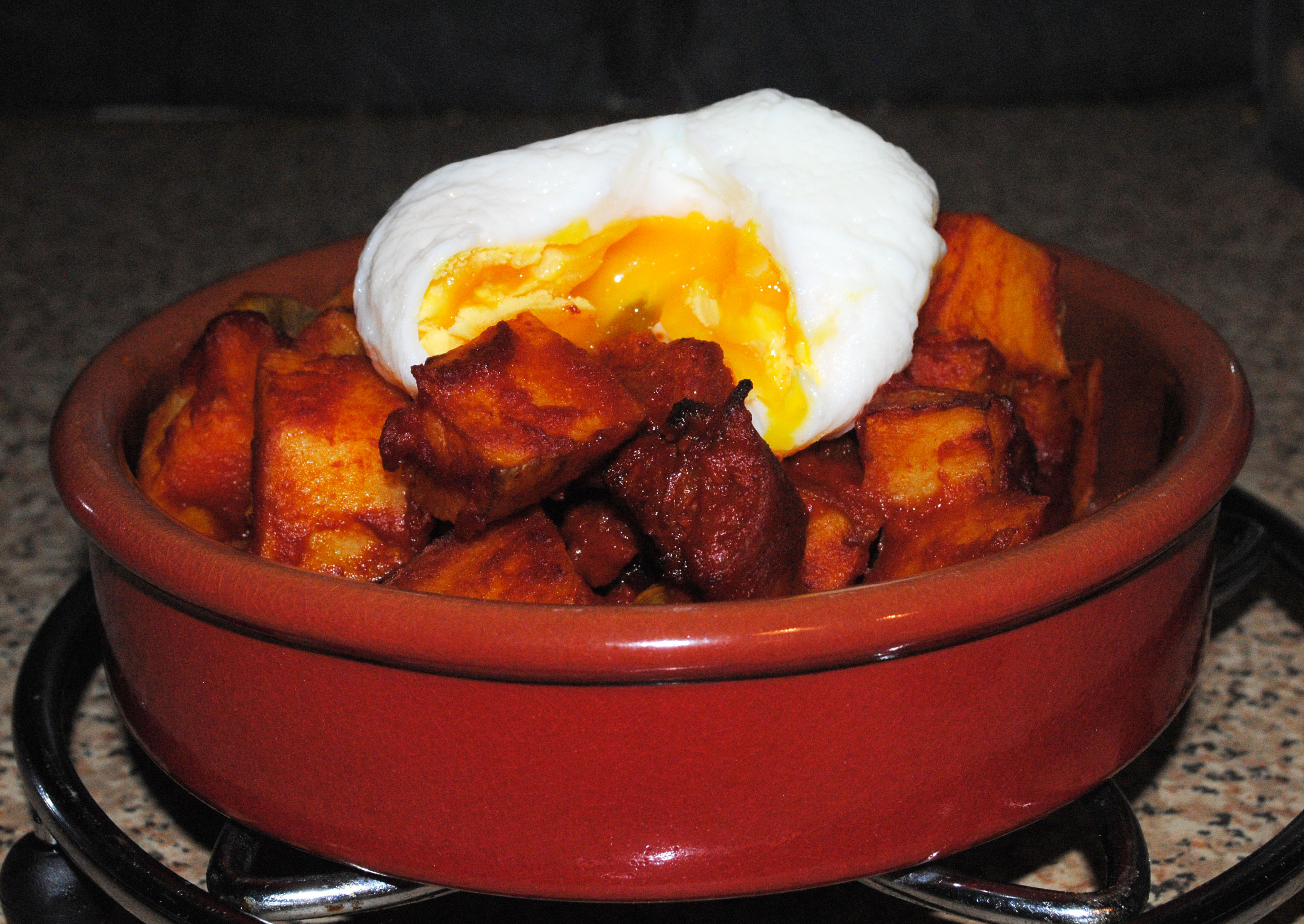 Patatas Bravas with Chorizo and Poached Egg